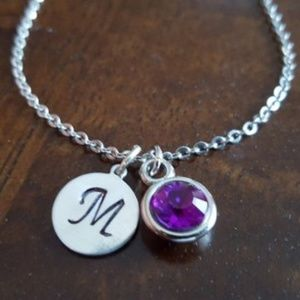 Stainless Steel Initial and Birthstone Necklace